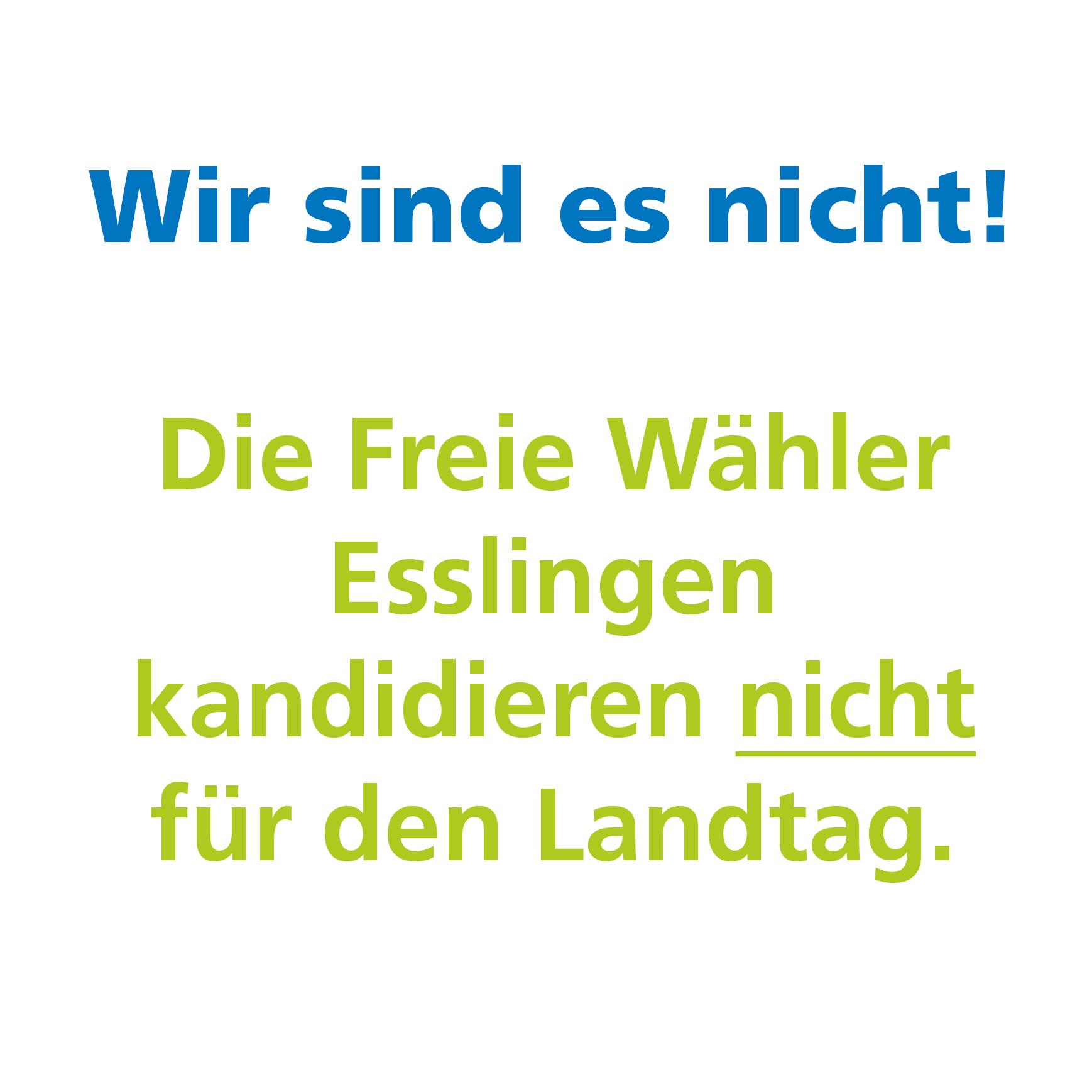 Wir sind es nicht! Die Freie Wähler Esslingen kandidieren nicht für den Landtag.
